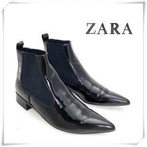 Zara Patent Pointed Toe Ankle Bootie Black